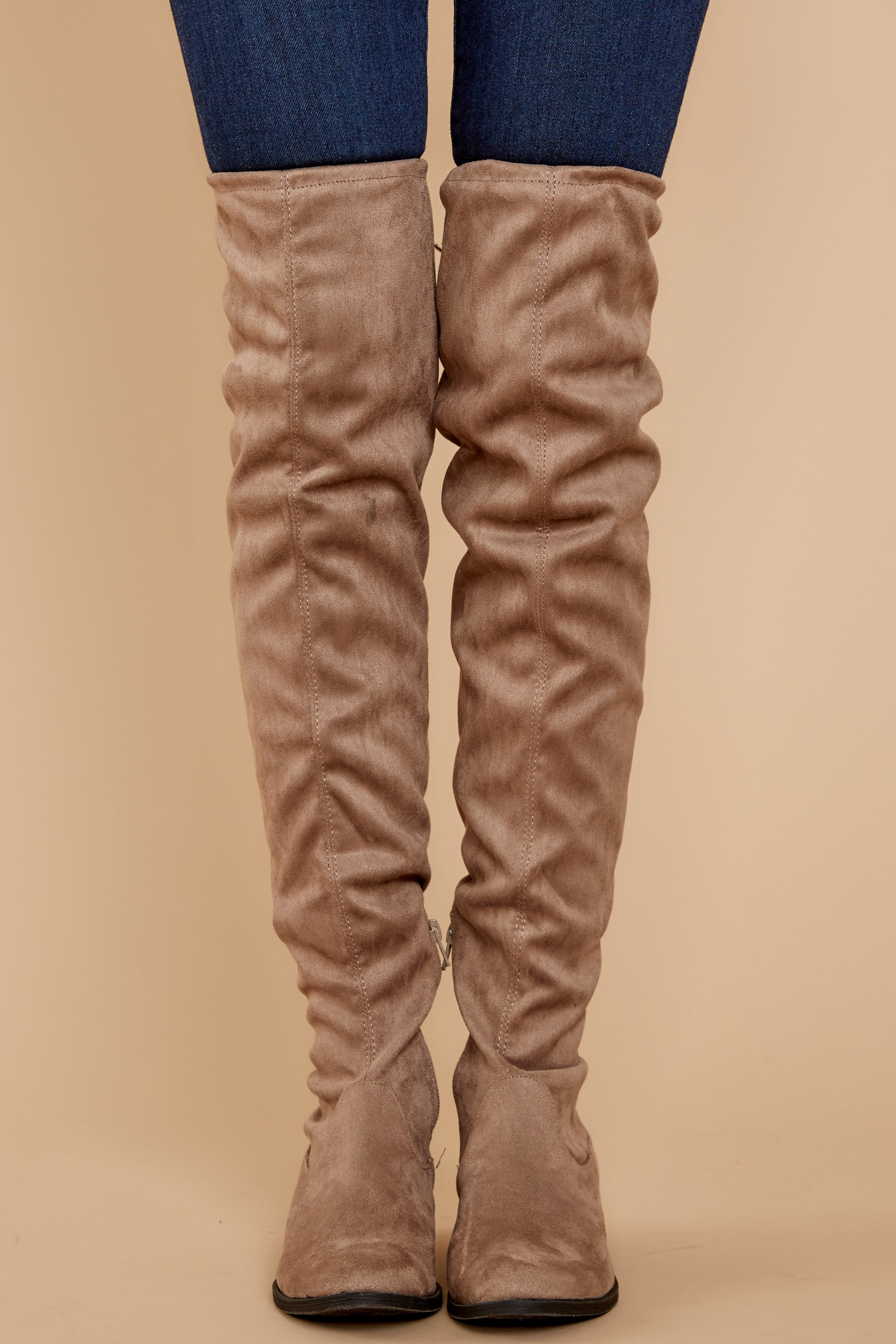 3 Walk Your Walk Taupe Over The Knee Boots at reddressboutique.com