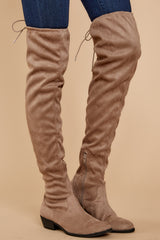 2 Walk Your Walk Taupe Over The Knee Boots at reddressboutique.com