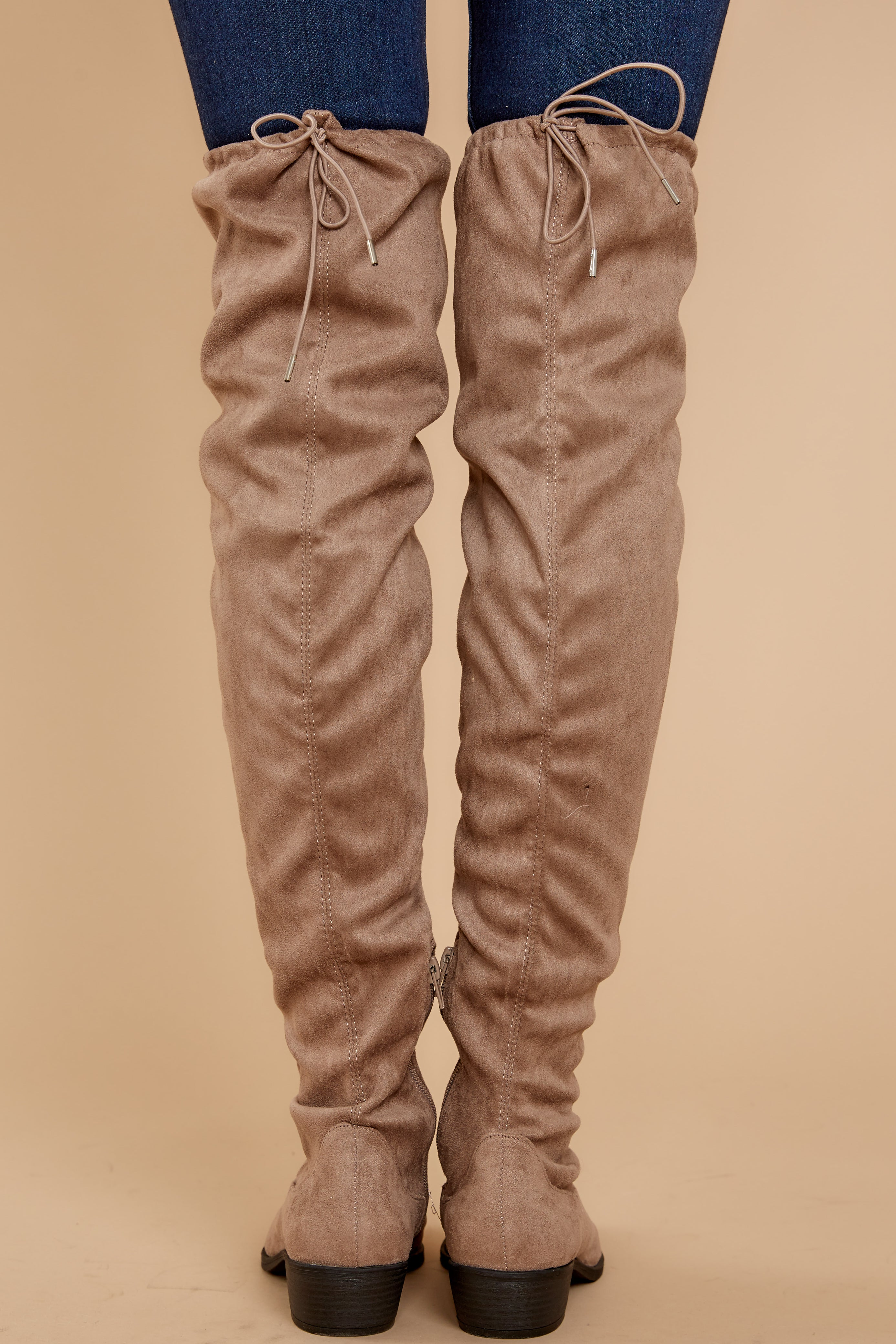 4 Walk Your Walk Taupe Over The Knee Boots at reddressboutique.com