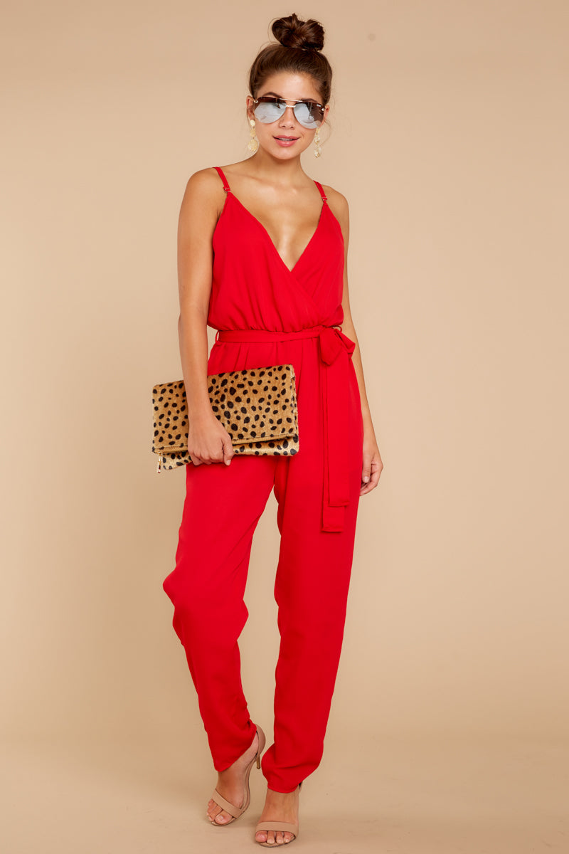 1 Jump Into Things Red Jumpsuit at reddressboutique.com