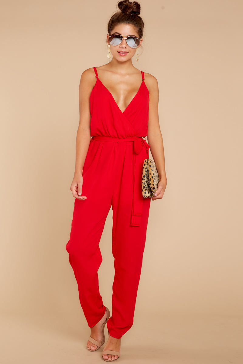 2 Jump Into Things Red Jumpsuit at reddressboutique.com