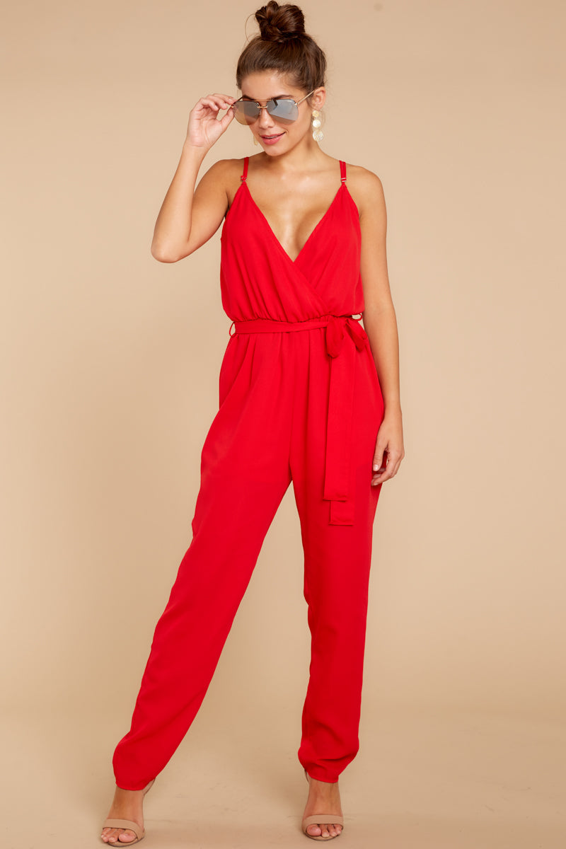3 Jump Into Things Red Jumpsuit at reddressboutique.com