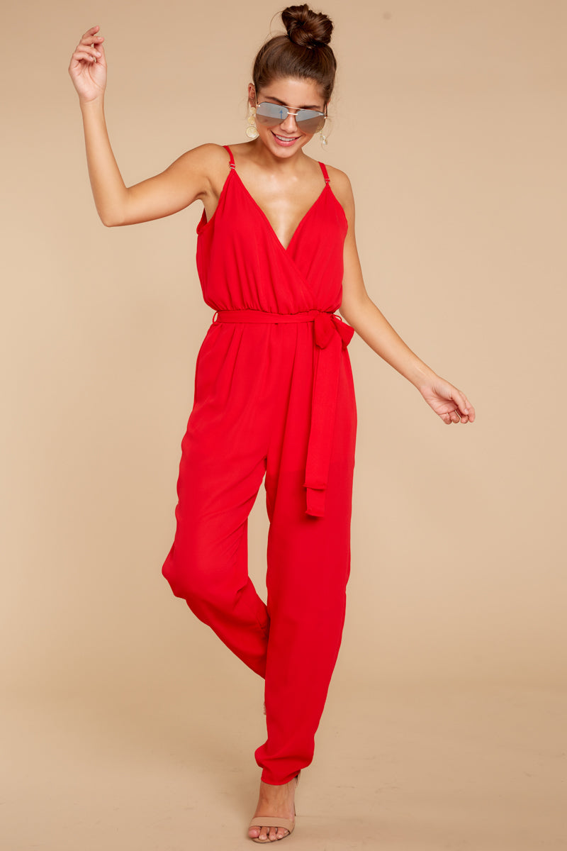 4 Jump Into Things Red Jumpsuit at reddressboutique.com