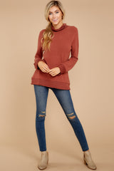 2 Soft Spun Knit Mock Neck Pullover In Clay at reddressboutique.com