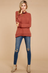1 Soft Spun Knit Mock Neck Pullover In Clay at reddressboutique.com