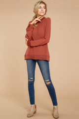 3 Soft Spun Knit Mock Neck Pullover In Clay at reddressboutique.com