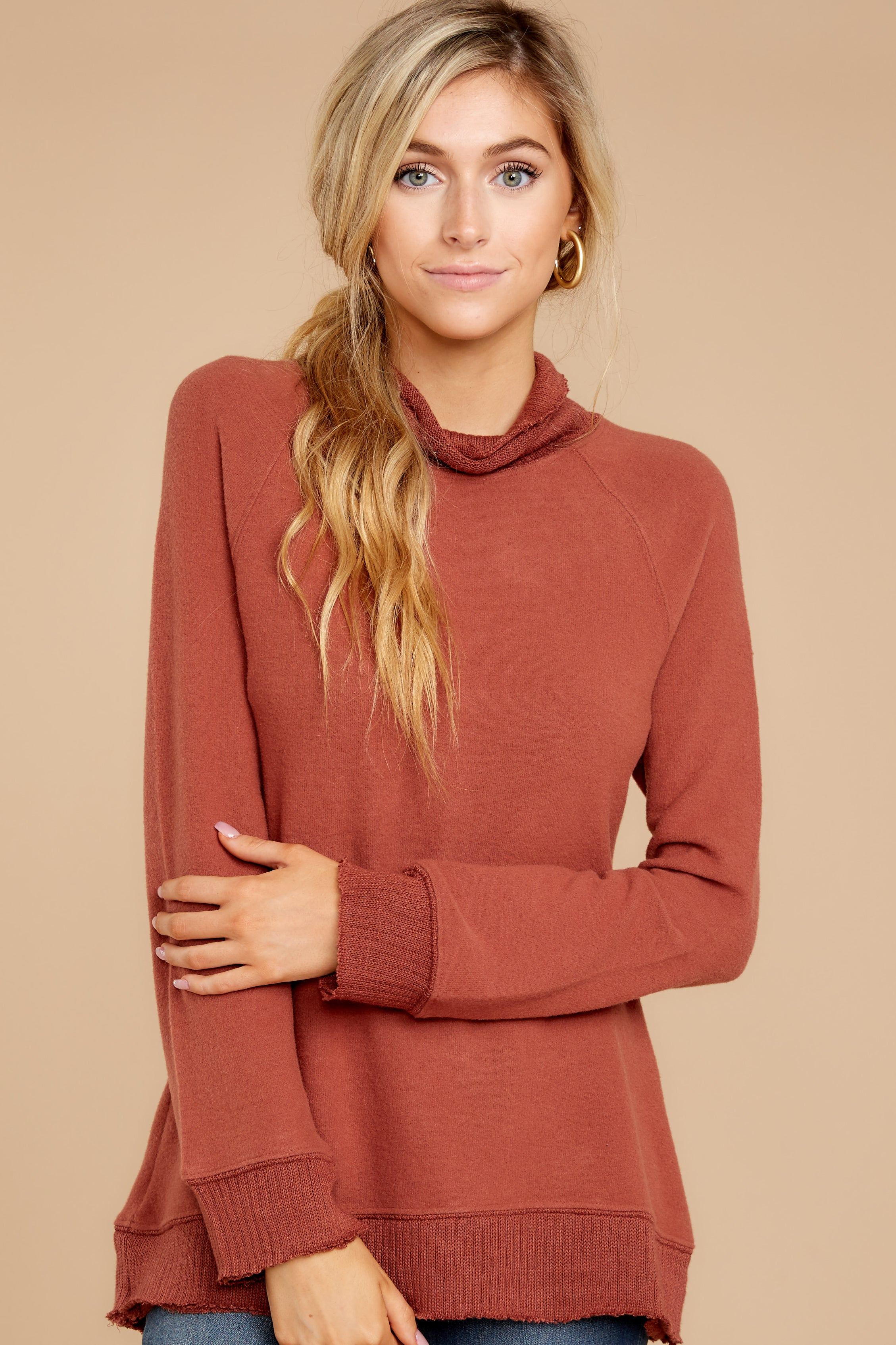 4 Soft Spun Knit Mock Neck Pullover In Clay at reddressboutique.com