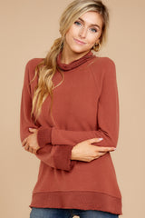 5 Soft Spun Knit Mock Neck Pullover In Clay at reddressboutique.com