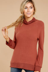 6 Soft Spun Knit Mock Neck Pullover In Clay at reddressboutique.com