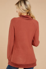 7 Soft Spun Knit Mock Neck Pullover In Clay at reddressboutique.com