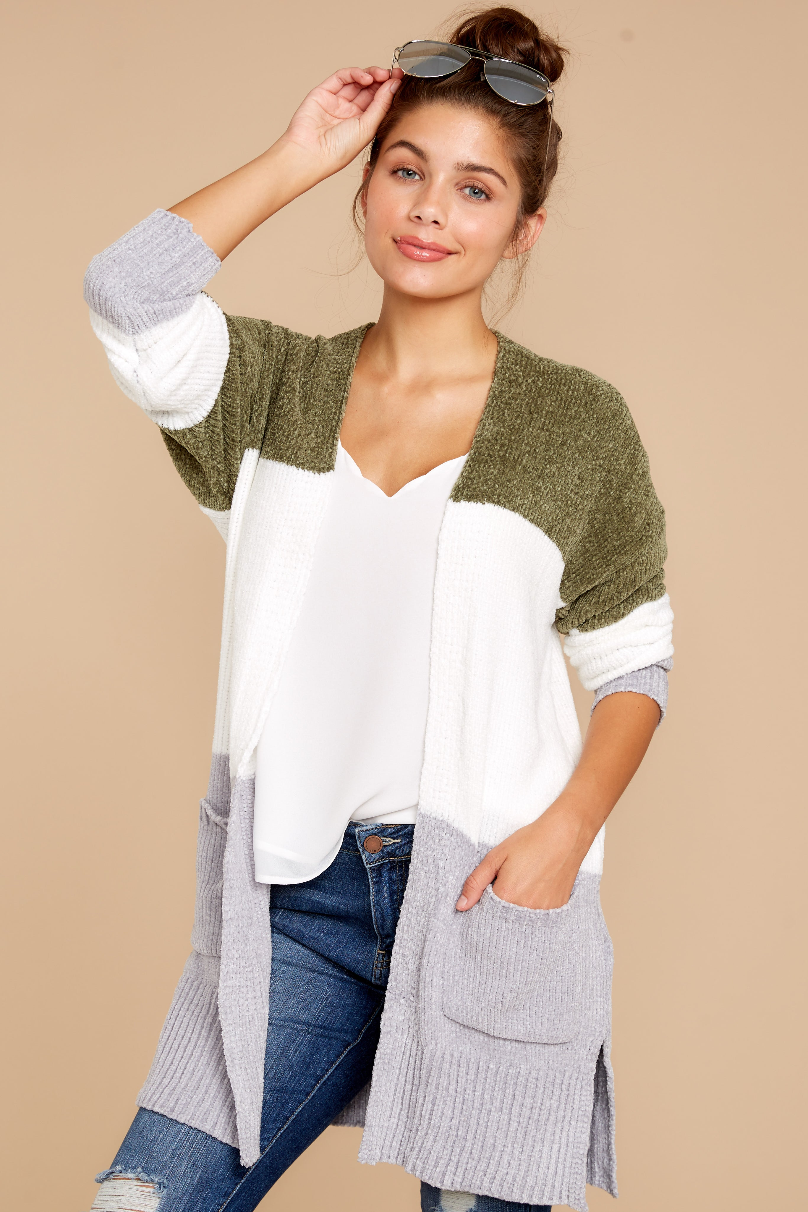 fc27c025c2 Sassy Olive Color Block Cardigan - Oversized Knit Cardi - Top ...