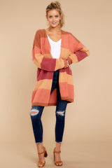 5 Make Your Mind Up Orange Multi Stripe Cardigan at reddress.com