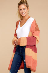 6 Make Your Mind Up Orange Multi Stripe Cardigan at reddress.com