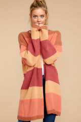 7 Make Your Mind Up Orange Multi Stripe Cardigan at reddress.com