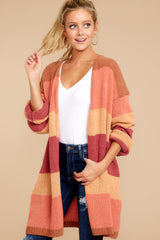 8 Make Your Mind Up Orange Multi Stripe Cardigan at reddress.com