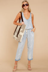 3 Walk Tall Light Chambray Blue Jumpsuit at reddress.com