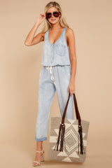 4 Walk Tall Light Chambray Blue Jumpsuit at reddress.com