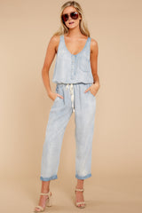 5 Walk Tall Light Chambray Blue Jumpsuit at reddress.com