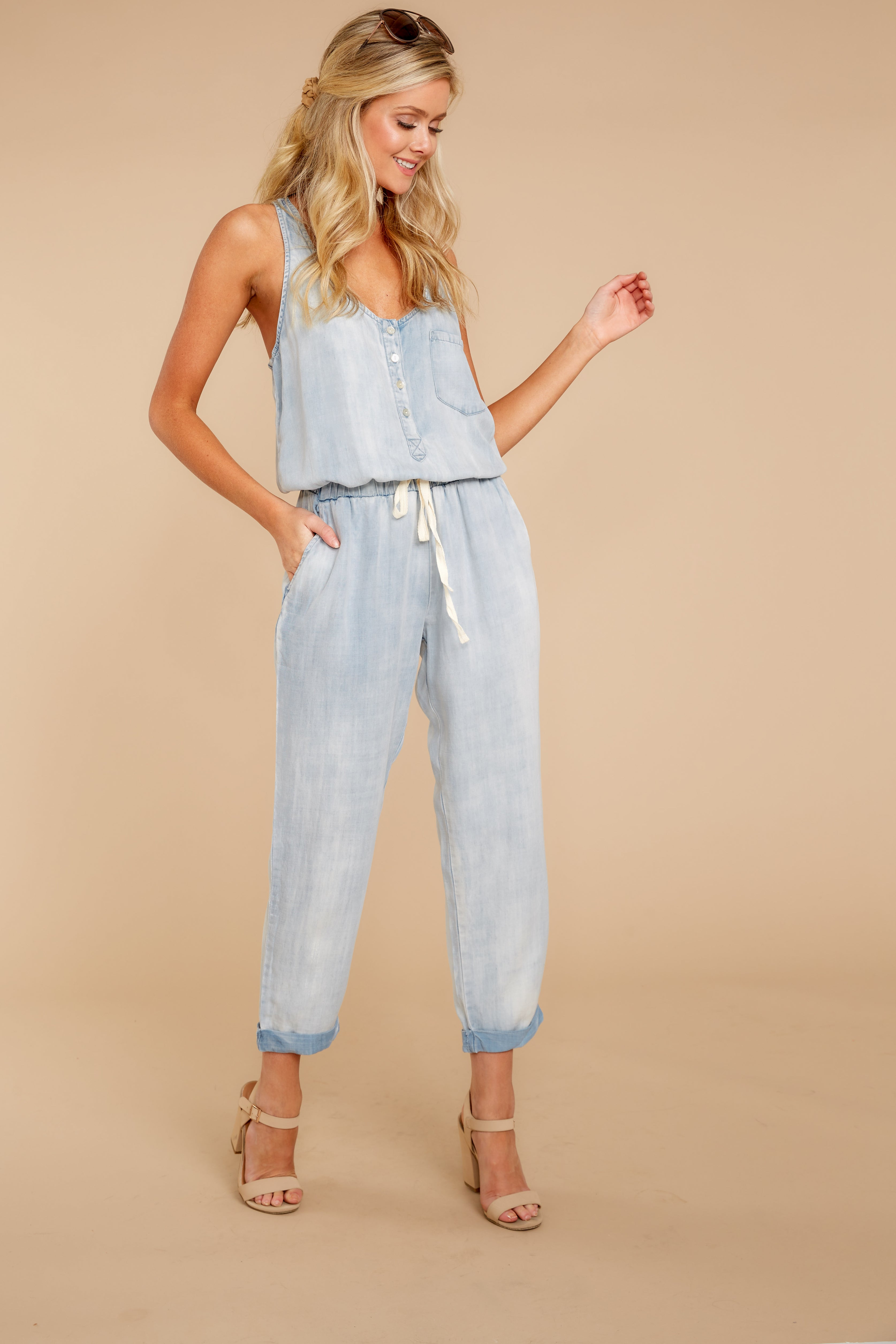 6 Walk Tall Light Chambray Blue Jumpsuit at reddress.com