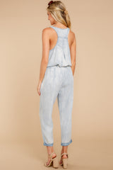 7 Walk Tall Light Chambray Blue Jumpsuit at reddress.com
