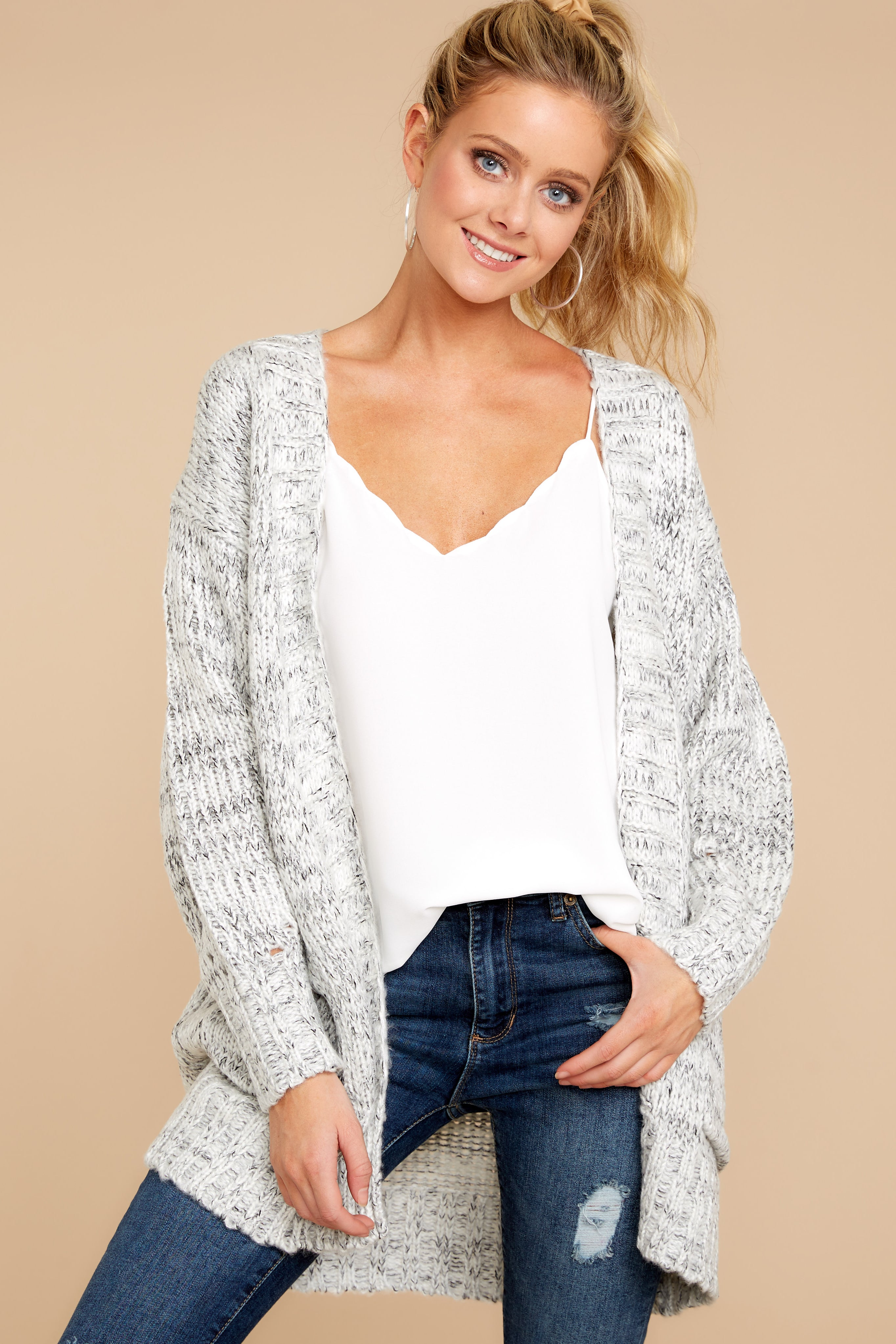 6 Fit For Fall Heather Grey Cardigan at reddressboutique.com