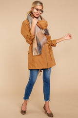 3 Off The Record Dark Camel Jacket at reddressboutique.com