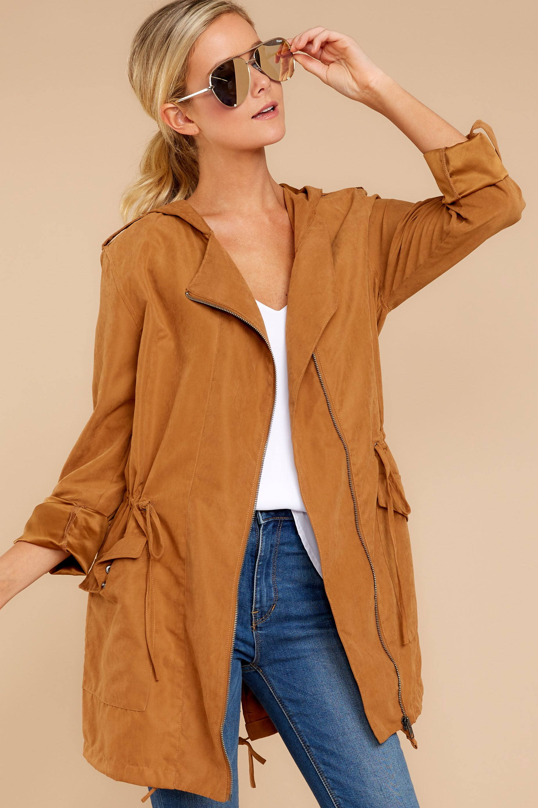 4 Off The Record Dark Camel Jacket at reddressboutique.com