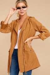 5 Off The Record Dark Camel Jacket at reddressboutique.com