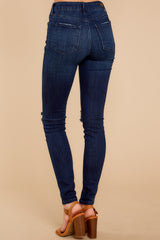 Bring It Here Dark Wash Distressed Skinny Jeans