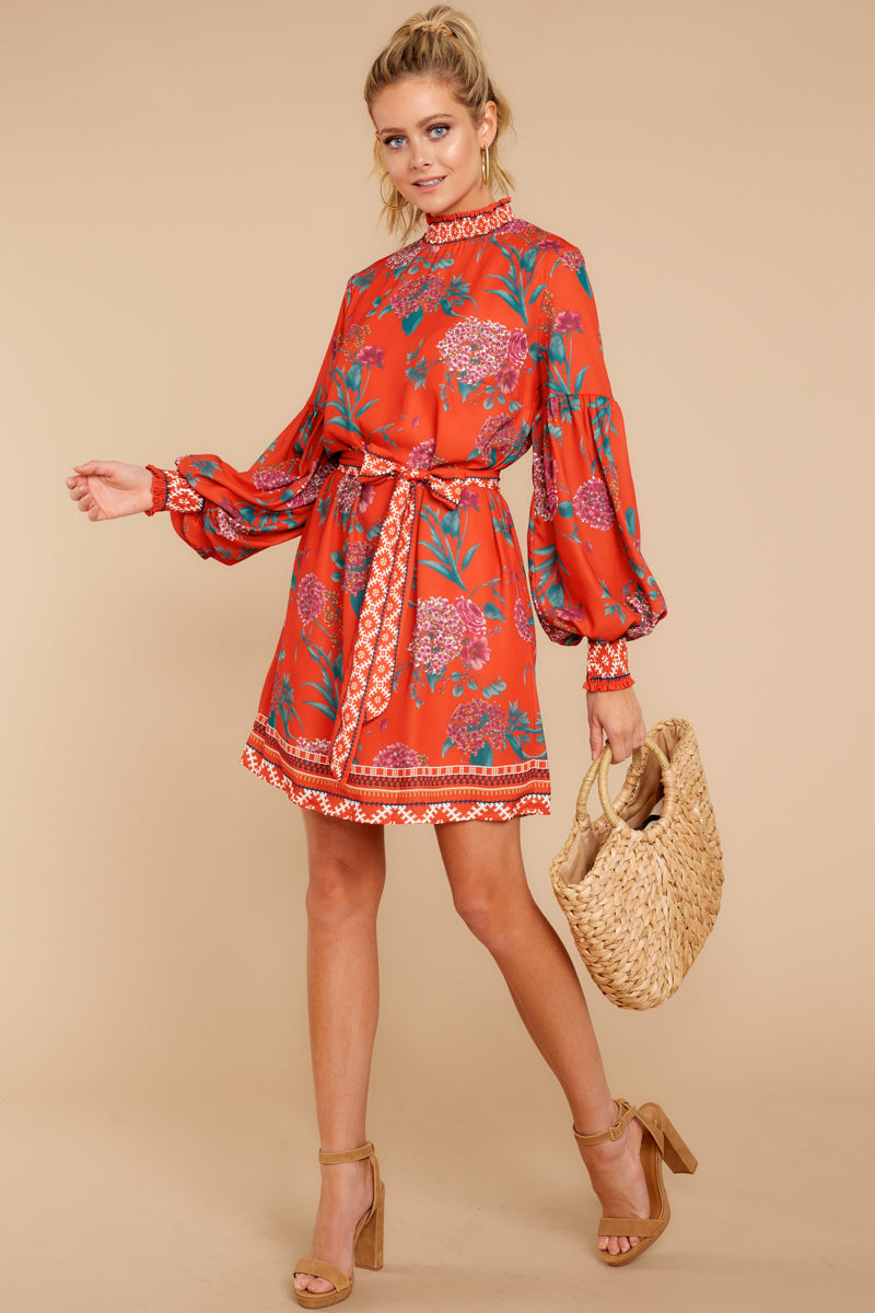b2006131ee Stylish Red Floral Dress - Chic Floral Print Dress - Short Dress ...