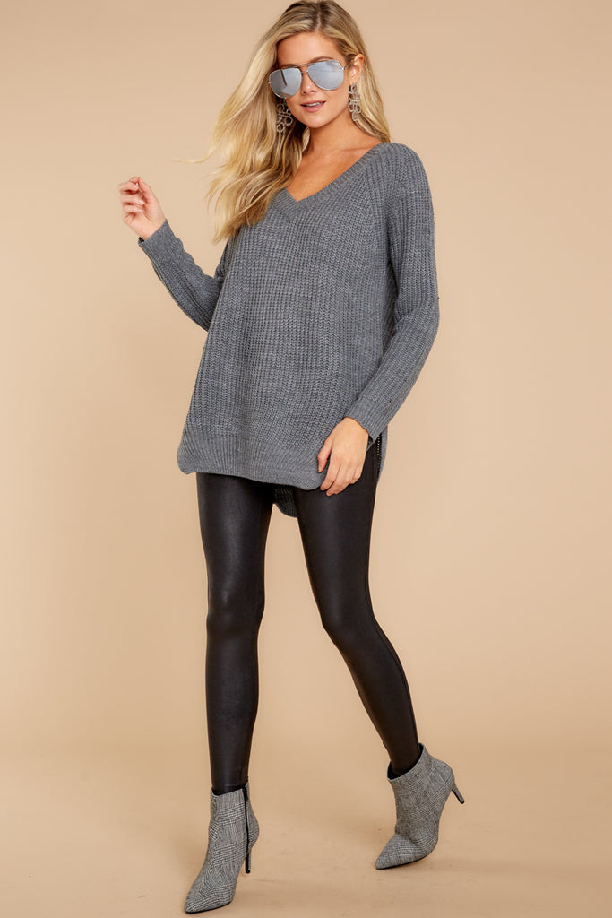1 Last To Love Charcoal Grey Cowl Neck Sweater at reddressboutique.com