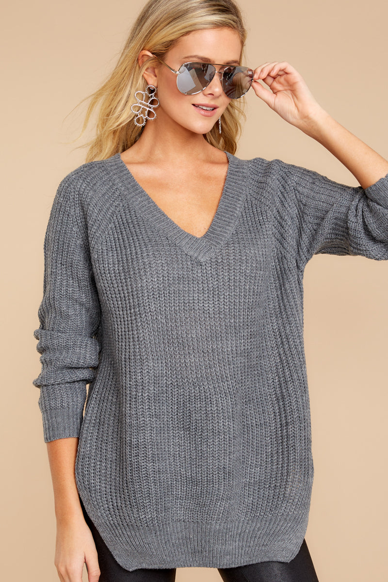 All The Comfort Grey Knit Sweater