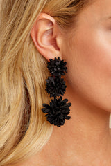 3 For A Little While Black Earrings at reddressboutique.com