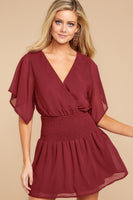 V-neck Polyester Short Faux Wrap Shirred Kimono Sleeves Elasticized Waistline Dress