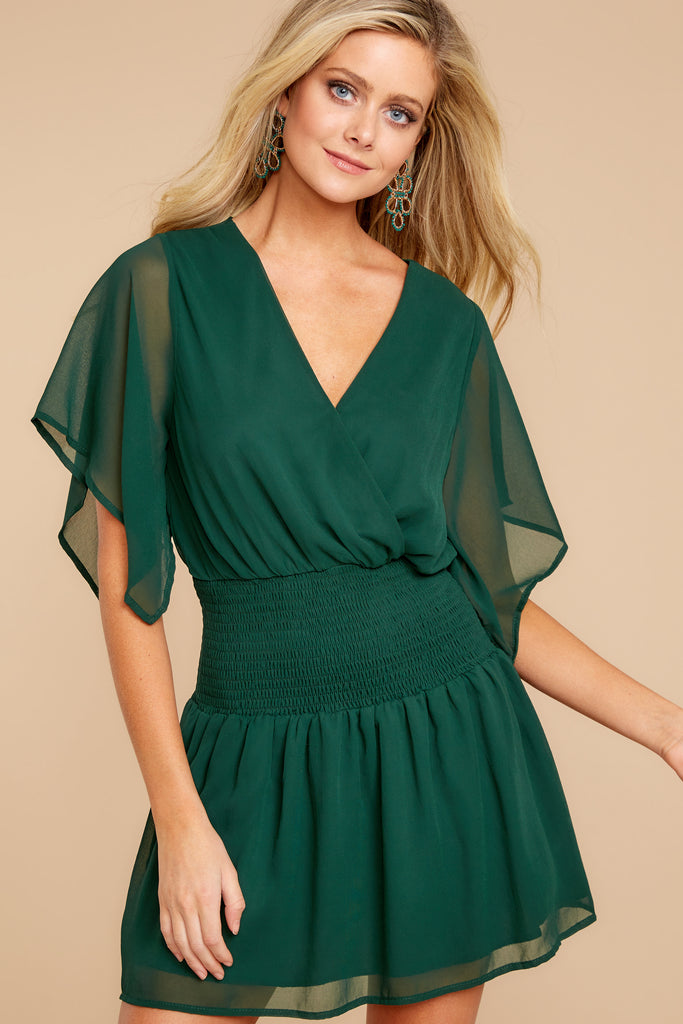 Give Them A Look Hunter Green Lace Dress