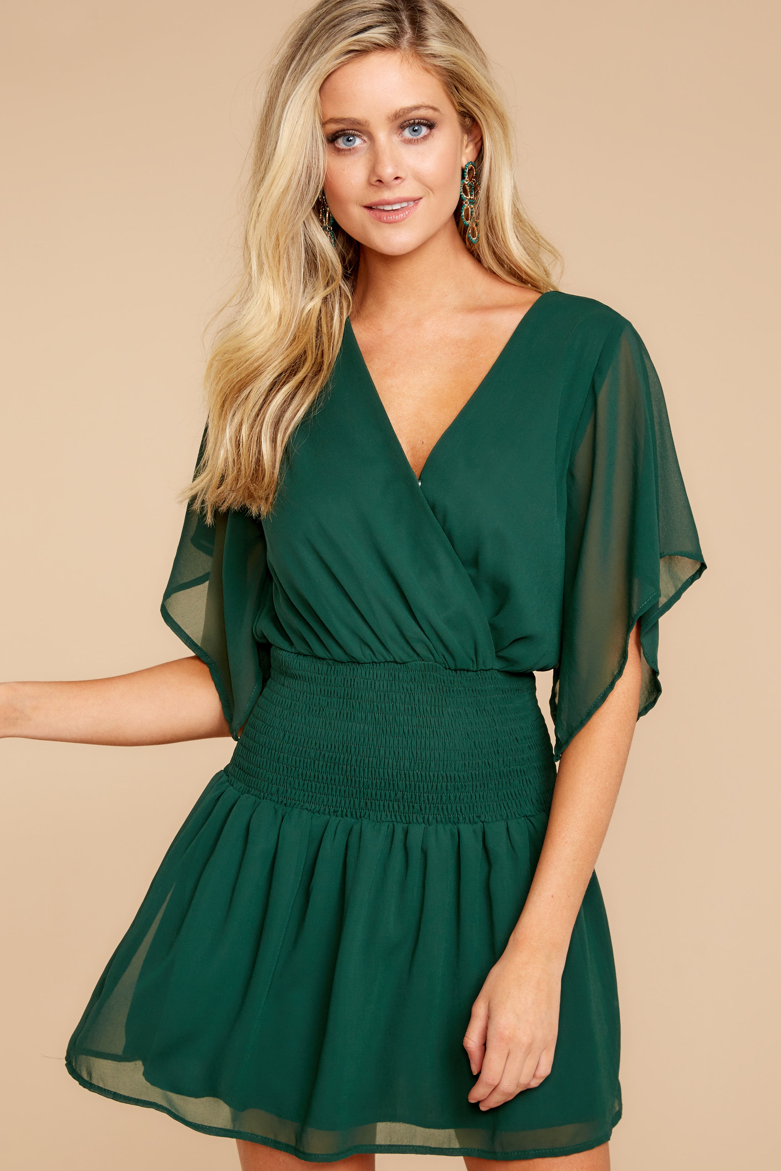 3 In A Twirl Hunter Green Dress at reddressboutique.com