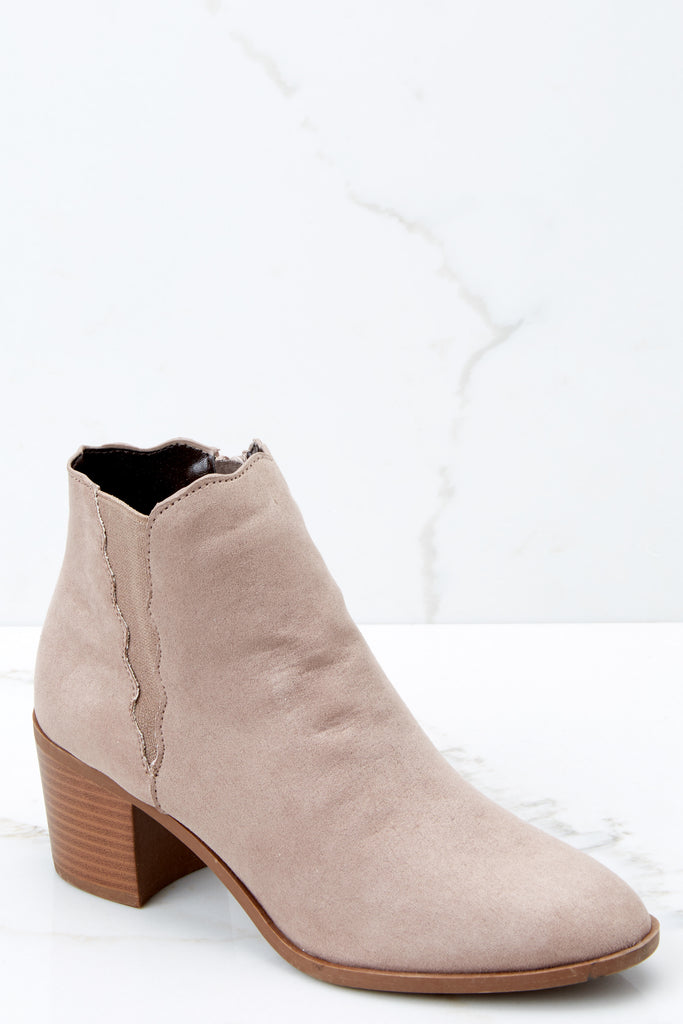 1 Came And Conquered Beige Ankle Booties at reddressboutique.com