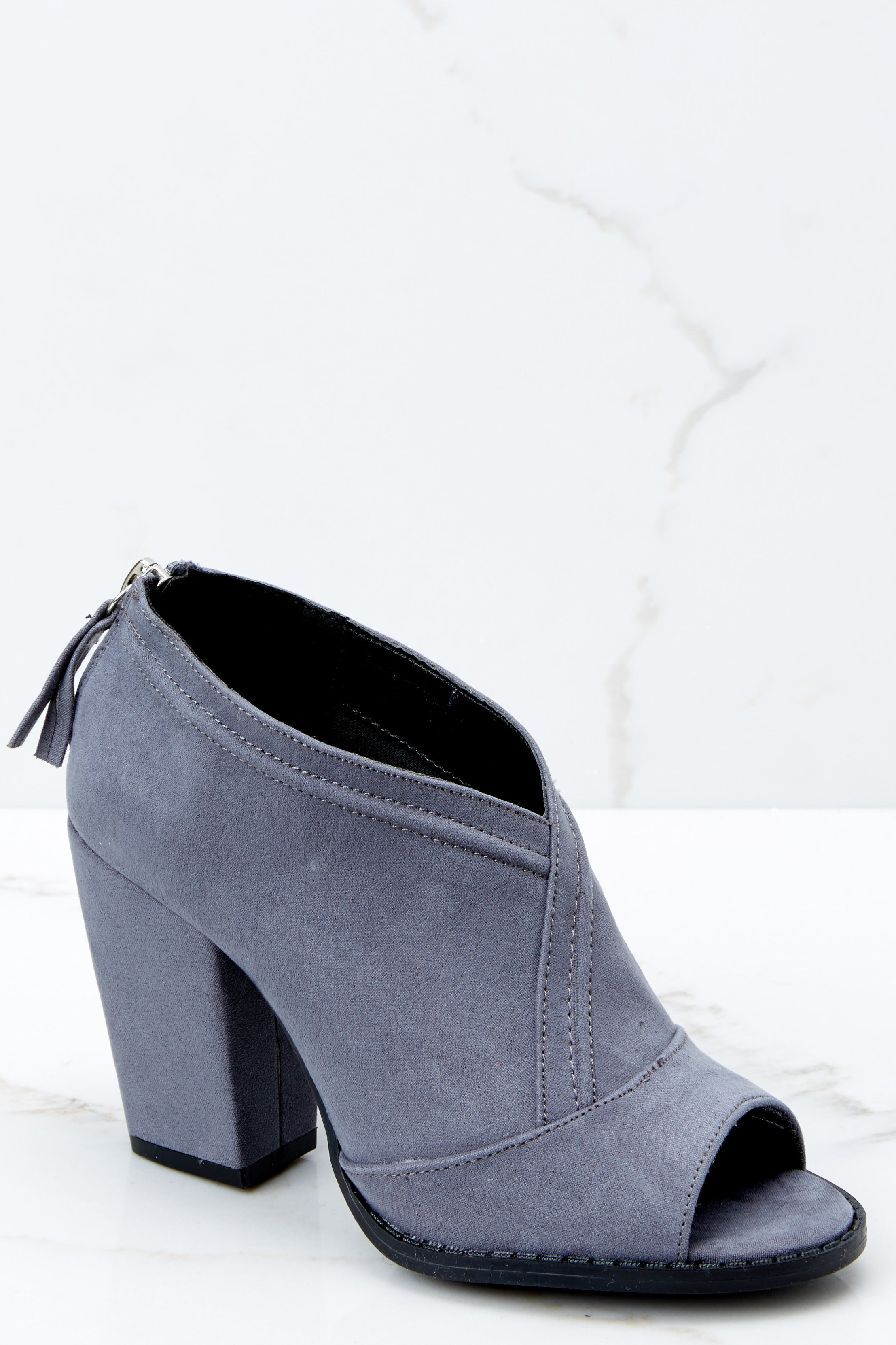 1 Step Into This Grey Peep Toe Booties at reddressboutique.com