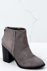 1 Meet You There Grey Ankle Booties at reddressboutique.com