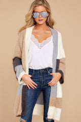 6 Cover The Basics Beige Multi Cardigan at reddressboutique.com