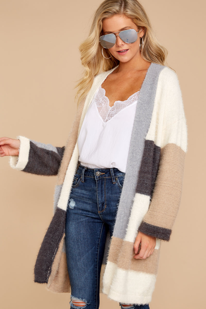 7 Cover The Basics Beige Multi Cardigan at reddressboutique.com