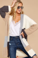 8 Cover The Basics Beige Multi Cardigan at reddressboutique.com