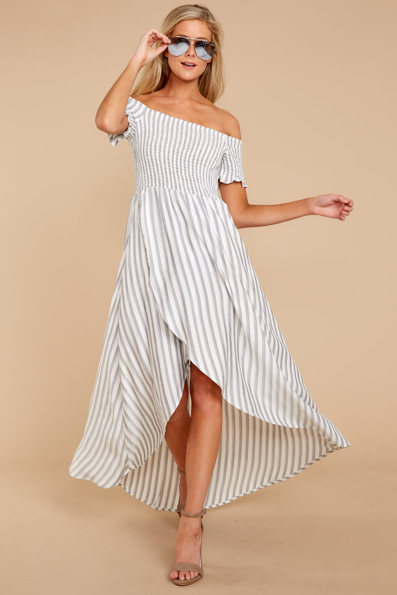 2 Dancing In The Street Grey Stripe Maxi Dress at reddressboutique.com