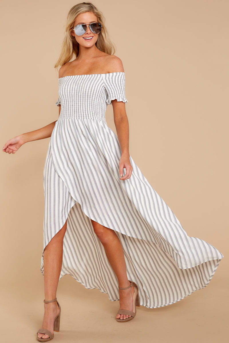 1 Dancing In The Street Grey Stripe Maxi Dress at reddressboutique.com