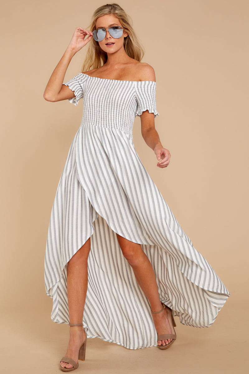 3 Dancing In The Street Grey Stripe Maxi Dress at reddressboutique.com