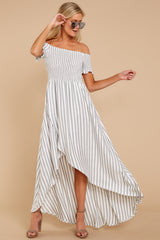 4 Dancing In The Street Grey Stripe Maxi Dress at reddressboutique.com