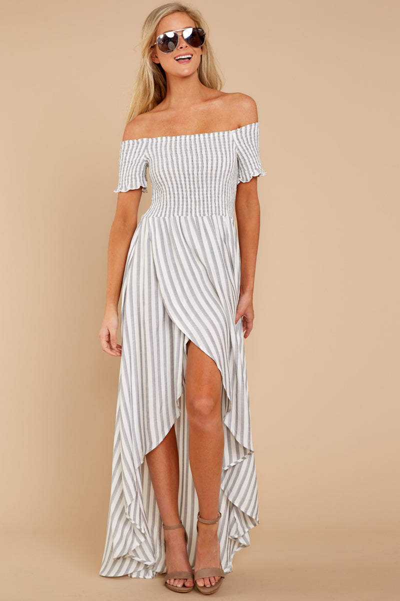 5 Dancing In The Street Grey Stripe Maxi Dress at reddressboutique.com