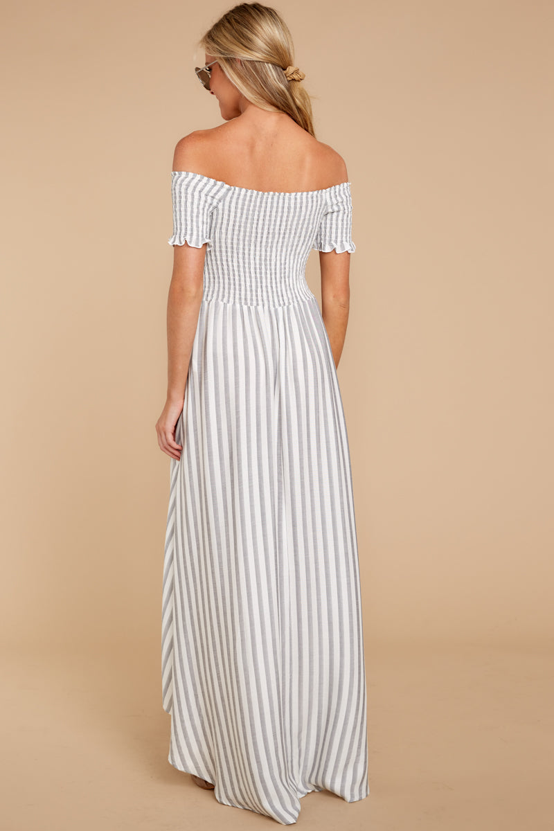 6 Dancing In The Street Grey Stripe Maxi Dress at reddressboutique.com