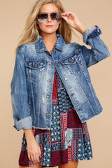 4 Marina Jacket In Medium Wash at reddressboutique.com