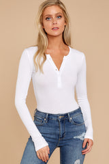1 A Simple Favor White Long Sleeve Bodysuit at reddress.com